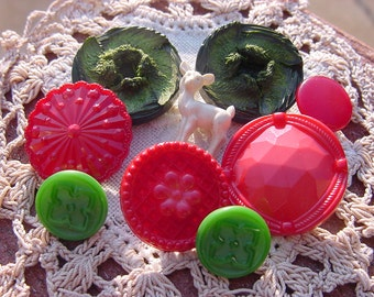 Festive Holiday Collection Vintage Moonglow Celluloid Buttons