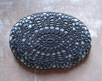Home Decor, Crochet Lace Stone, Table Decoration, Woodland, Nature, Handmade, Original, Charcoal Thread, Oval Stone