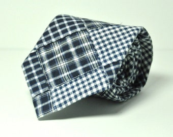 Boy's Necktie Navy Blue Madras Plaid