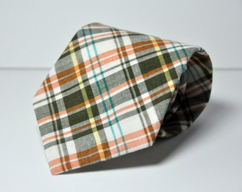 Men's Necktie - Orange and Brown Plaid Men's Tie - Fall Plaid Tie - Thanksgiving Necktie