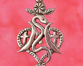MARIE LAVEAU VEVE - Solid Cast  Voodoo Veve Lwa Vodou Charm Pendant in Sterling Silver