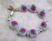 Handmade Lampwork Dichroic Glass Bead Bracelet by All My Beads Sparkle Me Purple