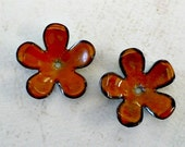 Enameled Copper Flowers - Orange
