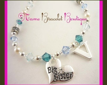 Big Sister Necklace - Personalized with initial Charm, turquoise birthstones, Little Sister Necklace jewelry gift