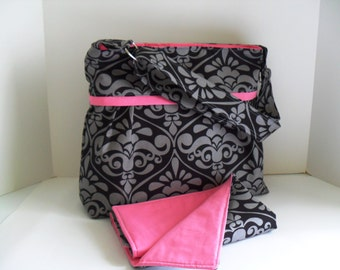 READY TO SHIP - Diaper Bag Set in Divine Damask Black/Gray with Adjustable Strap and Elastic Pockets - Diaper Bag - Changing Pad - Pink