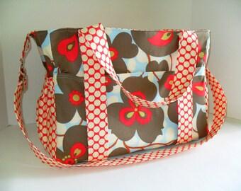Extra Large Diaper bag Made of Amy Butler Lotus  Fabrics / Diaper bag - Messenger Bag - Tote Bag - Amy Butler Diaper Bag