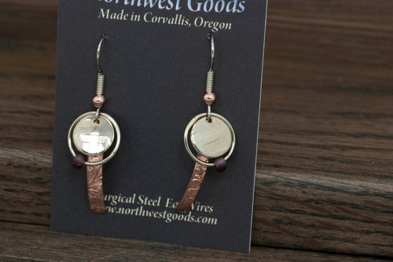 3 piece dangly earrings with surgical steel ear wires