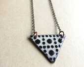 Black and White Enamel Necklace- Reversible
