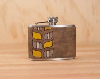 4oz Flask - Roger pattern - Modern in yellow, gray, white and antique black