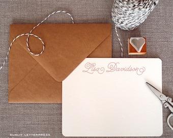 Custom Letterpress Note Cards - Set of 50 w/Kraft Envelopes - Calligraphy Design