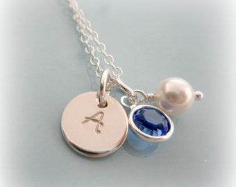 Personalized Birthstone Initial Necklace. Sterling Silver Initial Pearl Necklace. Mom Necklace. Bridesmaids Jewelry