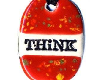 Think Ceramic Necklace in Spotted Red