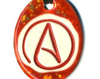 Atheist Symbol Ceramic Necklace in Red