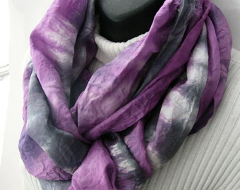 Radiant Orchid Pink and Gray Hand Dyed Silk Infinity Scarf for Women- Winter Fashion Circular Cowl Scarf Gift for Her Girlfriend gift scarf
