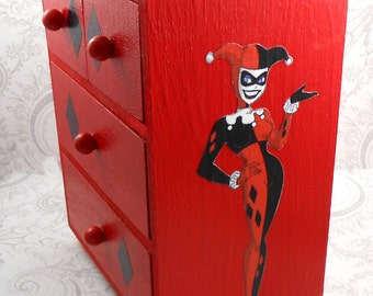 Custom Harley Quinn Red and Black Stash Jewelry Box