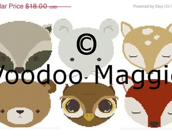 Woodland Animals Cross stitch pattern Complete set