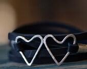 Heart Bracelet - Leather Wrap Bracelet - Silver Heart Bracelet - His Hers Bracelet - Friendship Bracelet - Best Friend Gift - Love YOU 1057