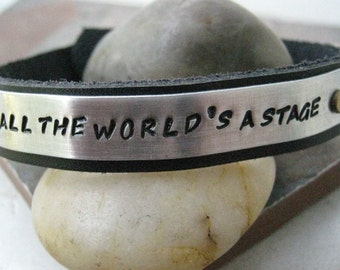 All The World's A Stage Bracelet, 1/2 inch Leather Cuff Bracelet, Drama Bracelet, Actor bracelet, Actor gift, Theater gift, Shakespeare