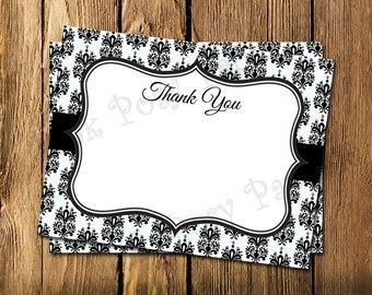 Printable Black and White Damask Wedding Flat Thank You Note Cards - Instant Download