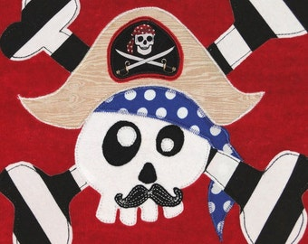 Personalized Large Salsa Red Velour Beach Towel with Funny Pirate with Mustache and Crossbones, Kids Bath Towel, Kids Pool Towel, Camp Towel