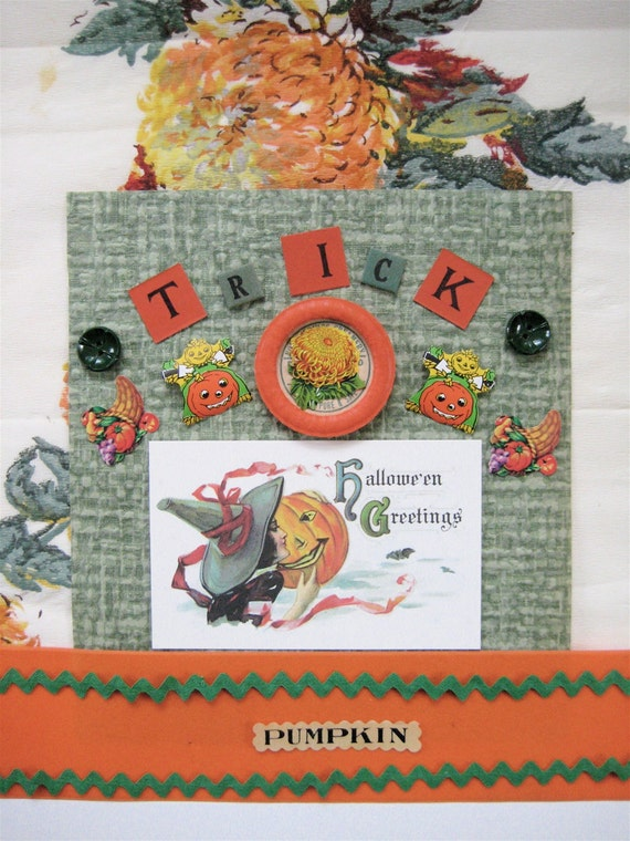 Vintage Halloween Scrapbook or Collage Pack Orange and Green