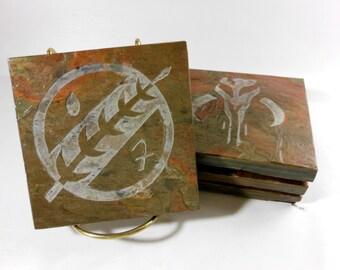 Slate Coasters: Mandalorian Coasters - 4 Handmade Coasters, Carved Slate Coasters, Heavy Non Stick Coasters, Novelty Geeky Drink Coasters