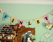 Personalized Bunting, Custom Flag Banner, Garland, Fabric Flag Decoration. 8 Flags, up to 6 letters, with an option for more.