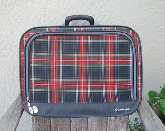 Vintage  Plaid Grasshopper Luggage Suitcase