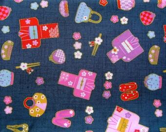 Japanese Fabric  Japanese Yukatas Summer Kimonos And Accessories  Half Yard  (F12) Dark Teal
