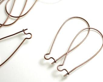 Antique copper kidney earwire 35x18mm, 24 pcs  (item ID XMHB000131CDE)