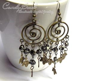 Chandelier Earrings, Black Beads Antique Brass Earrings