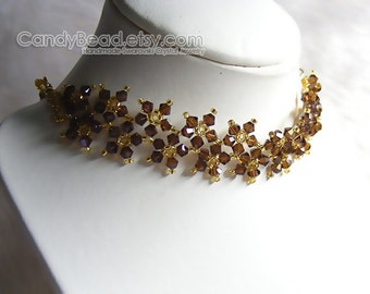 Swarovski Crystal Necklace, Sweet Brown and Gold Multiflora Swarovski Crystals Necklace by CandyBead