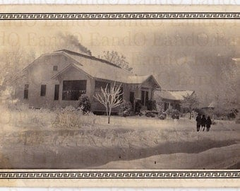Antique Photo - House In Winter - Beautiful Snowy Street Scence  Photo With Border 1920s