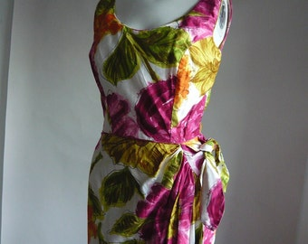 Wrap n Wiggle Sarong Dress size 2 4 6 TORI RICHARDS Cotton Maxi 1960s  Holiday Shops Resort xs small