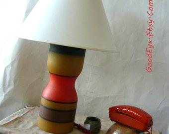 Vintage 60s Ceramic Table Lamp Mod COLOR BLOCK Orange Gold Brown MCM Eames Era Decor