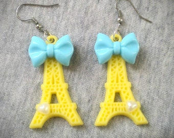 Eiffel Tower Lolita Earrings Baby Blue Bow Yellow J'aime Paris kitsch kitschy jewelry