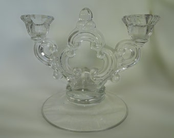 Cambridge clear 6400 two light candlestick keyhole candleabra crystal 30s 40s 50s