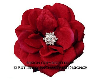 Bridal Headpiece, Wedding Hair Flower, Bridal Accessories - Starfire Rhinestone Dk Red Natalia Rose Bridal Hair Flower Clip