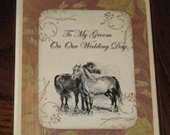 To My Groom On Our Wedding Day Wedding Day Card Horses