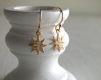 Star Burst Jewelry Earrings - 16K Gold Plated - Cubic Zirconia / Gold Filled Earrings - Constellation - Shooting Star - Women - Gift for Her