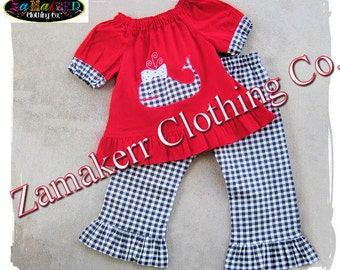 Girl Whale Outfit Pant Set - Toddler Infant Baby Girl Cltohing Gingham Ruffle Pant Outfit Set 3 6 9 12 18 24 month 2T 2 3T 3 4T 4 5T 5 6 7 8