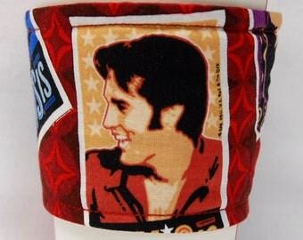 Coffee Cozy, Cup Sleeve, Eco Friendly, Slip-on, Teacher Appreciation, Co-Worker, Bulk Discount: Elvis II - Red/Orange Shirt
