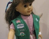 Custom doll sized uniform inspired by Girl Scout Junior  - green Junior VEST