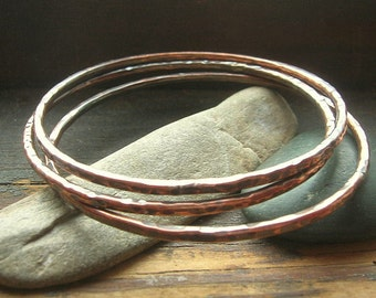 Copper Bangle Trio