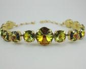 Gold amber yellow green crystal bracelet - sahara swarovski crystal multicolor