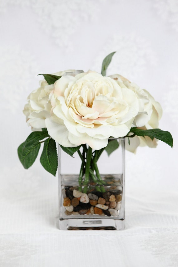Rose In Water Centerpiece : Items similar to rose centerpiece cream silk artificial