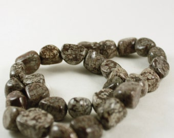 Natural Brown Snowflake Jasper Domed Nuggets, Semi-Precious Stone Beads, 15 inch strand