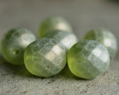 Frosted Fern Green 12mm Czech Glass Faceted Round Bead : 6 pc Green Round Bead