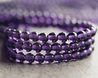 Tanzanite 4mm Czech Glass Druk Bead : 100 pc 4mm Purple Czech Round Bead