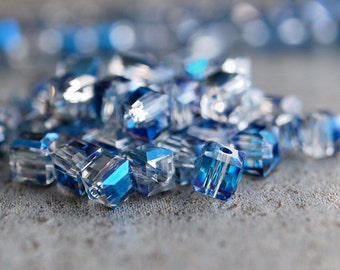 Meridian Blue Faceted 4mm Glass Cube Bead : Full Strand